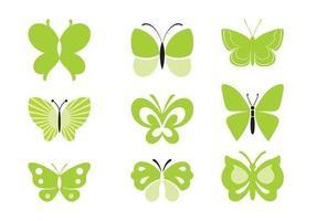 Paquete de vectores de mariposa verde