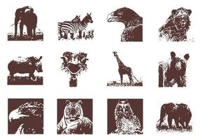 Grunge-wild-animals-vector-pack