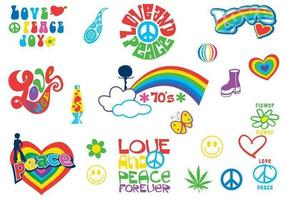 70er Jahre Flower Power Vector Pack