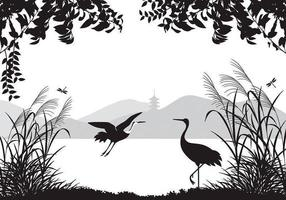 Aziatische Landschap Wallpaper Met Reiger Vector Pack
