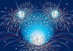 Patriotische Feuerwerk Vektor Hintergrund Zwei