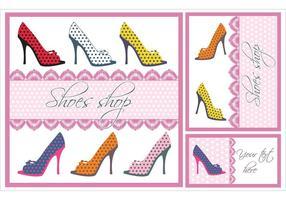 Conjunto de tarjetas de vector de zapatos