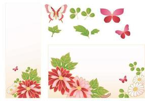 Pink Flower Banner Vector Pack