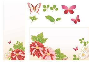 rosa Blume Banner Vektor Pack