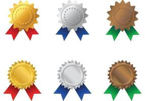 Vetores do prêmio Gold, Silver e Bronze Rosette