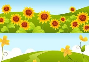 Yellow Sunflower Background Vector Pack