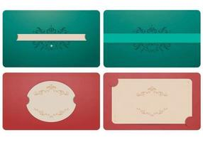 Elegant Emerald and Coral Label Vector Ornament Pack