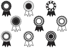 Blanco y negro Rosette Award Vector Pack