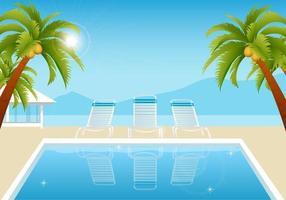 Tropical Summer Pool Vector Wallpaper