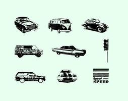 Grungy Vintage Pack Vector de coches