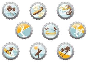 Surf Beach Bottle Cap Vector Pack