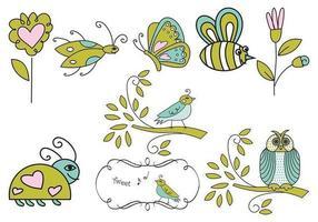 Vetores de insetos, flores e pássaros desenhados a mão