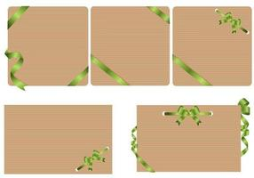Craft Paper Background Vectors with Green Ribbons