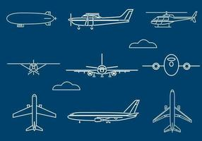 Outlined Aircraft Vector Pack