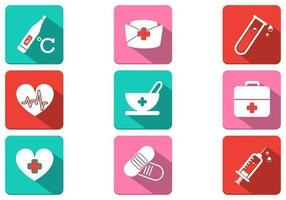 Longue ombre Medical Icon Pack Vector