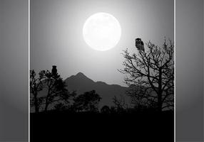 Owl By Night Full Moon Vector Background