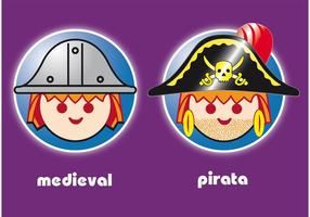 Playmobil Pirate and Medieval Toy Vector Characters