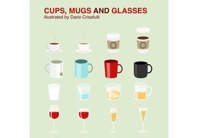 Cups, Mug Vectors and Glasses Vectors