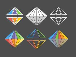 Pacote de logotipo de vetor de diamante arco-íris