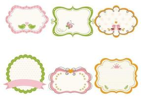 Carino Girly Frame Vector e Label Vector Pack