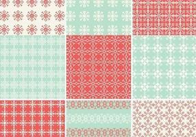 Paquete de patrón de vector de copo de nieve pixelado
