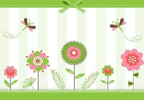 Groene Floral Greeting Card Vector