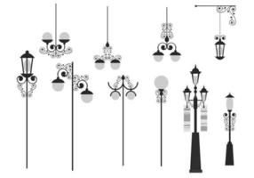 Weinlese Rod Iron Light Vector Pack