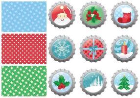 Navidad paquete de tapa de botella de vectores