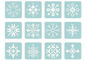 Pixel-snowflake-vector-pack