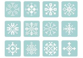 pixel snöflinga vektor pack