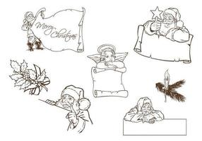 Hand-drawn-santa-and-christmas-label-vectors