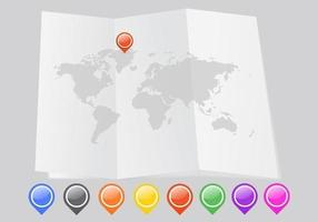 Gevouwen Wereldkaart Vector Met Pointers Pack