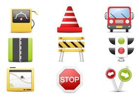 3D Traffic Vector Icon Pack