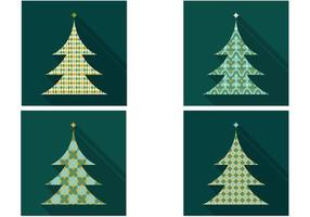 Pacote de vetores de árvore de natal com padrões retros