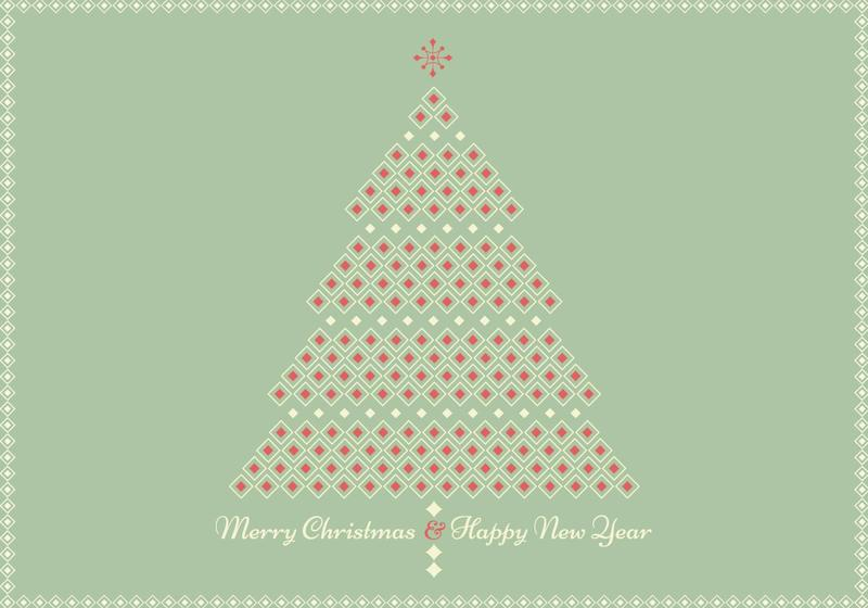 retro geometric christmas tree greeting card vector - Retro Christmas Tree