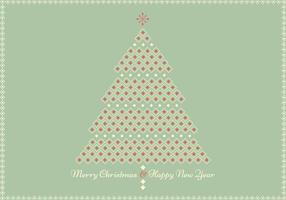 Retro Geometric Christmas Tree Greeting Card Vector