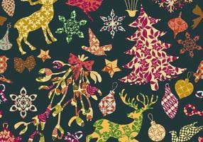 Vetor de padrão de Natal sem costura retalhos