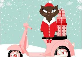Cute Cat Santa Vector Background