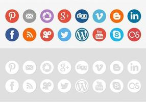 Mídia Social Round Icon Pack Vector