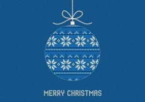 Blue-knitted-merry-christmas-vector-background