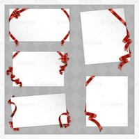 Holiday-papers-with-red-bows-vectors