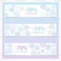 Flocon de neige Winter Sale Banner Vector Pack