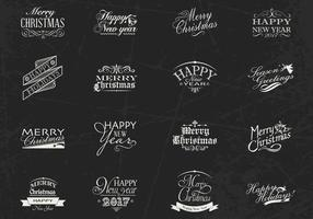 Chalk Drawn Christmas and New Year Label Vector Pack