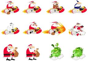 Santa Caricatures Vector