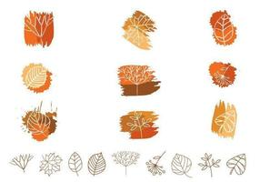 Paquet vectoriel de feuilles et de plantes décrite
