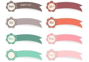 Flower Ribbon Label Vector Pack