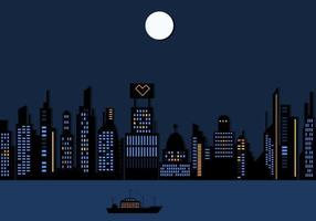 Night Time City Skyskrapa Wallpaper Vector