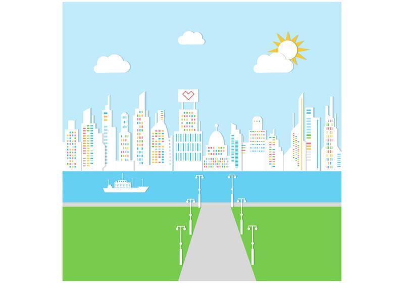 rainy city landscape vector background - download free vector art