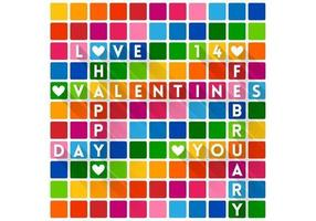 Colorful Crossword Valentine's Day Wallpaper Vector