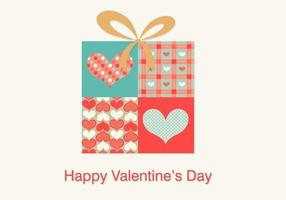 Heart Patterned Gift Box Background Vector